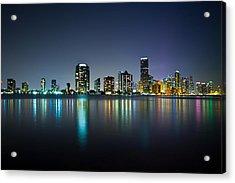 Miami Night Skyline Acrylic Print