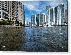 Miami River Kayakers Acrylic Print by Jonathan Gewirtz
