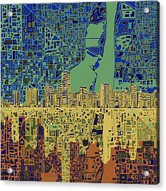 Miami Skyline Abstract 7 Acrylic Print