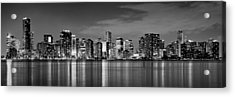 Miami Skyline At Dusk Black And White Bw Panorama Acrylic Print by Jon Holiday