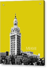 Miami Skyline Freedom Tower - Mustard Acrylic Print by DB Artist