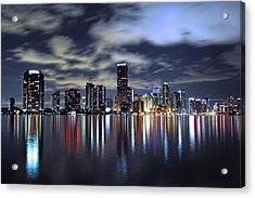 Miami Skyline Acrylic Print by Gary Dean Mercer Clark