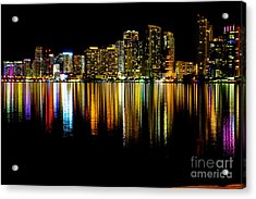Miami Skyline II High Res Acrylic Print by Rene Triay Photography