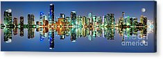 Acrylic Print featuring the photograph Miami Skyline Panorama by Carsten Reisinger