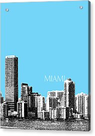 Miami Skyline - Sky Blue Acrylic Print by DB Artist
