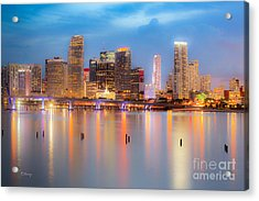 Miami Skyline On A Still Night- Soft Focus  Acrylic Print