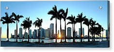 Miami Skyline Viewed Over Marina Acrylic Print by Travelpix Ltd