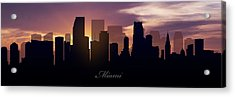 Miami Sunset Acrylic Print by Aged Pixel