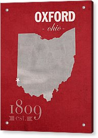 Miami University Of Ohio Redhawks Oxford College Town State Map Poster Series No 064 Acrylic Print