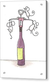 Mice With Wine Acrylic Print by Christy Beckwith