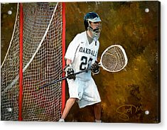 Michael In Goal Acrylic Print by Scott Melby