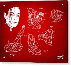 Michael Jackson Anti-gravity Shoe Patent Artwork Red Acrylic Print by Nikki Marie Smith
