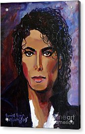 Acrylic Print featuring the painting Michael Jackson Timeless Memory by Ecinja Art Works