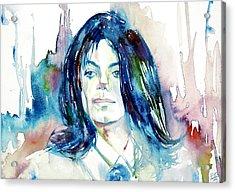 Michael Jackson - Watercolor Portrait.10 Acrylic Print