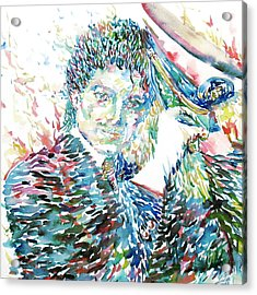 Michael Jackson - Watercolor Portrait.3 Acrylic Print by Fabrizio Cassetta