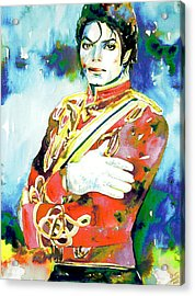 Michael Jackson - Watercolor Portrait.5 Acrylic Print by Fabrizio Cassetta