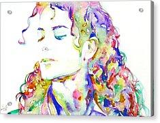 Michael Jackson - Watercolor Portrait.6 Acrylic Print by Fabrizio Cassetta