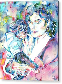 Michael Jackson - Watercolor Portrait.9 Acrylic Print by Fabrizio Cassetta