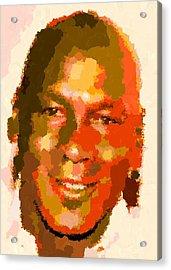 Michael Jordan - Abstract Acrylic Print by Samuel Majcen