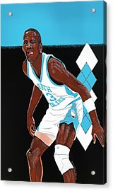 Michael Jordan Carolina Blues Acrylic Print by Dino Murphy