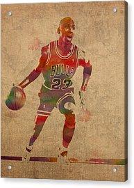 Michael Jordan Chicago Bulls Vintage Basketball Player Watercolor Portrait On Worn Distressed Canvas Acrylic Print by Design Turnpike
