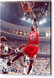 Michael Jordan Dunks With Left Hand Acrylic Print by Retro Images Archive