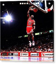 Michael Jordan Fast Break Acrylic Print by Brian Reaves