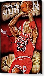 Michael Jordan Oil Painting Acrylic Print by Dan Troyer