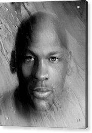 Michael Jordan Potrait Acrylic Print by Angie Villegas