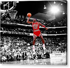 Michael Jordan Slam Dunk Contest Acrylic Print by Brian Reaves