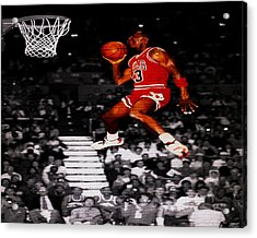 Michael Jordan Suspended In Mid Air Acrylic Print by Brian Reaves