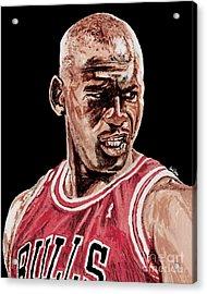 Michael Jordan The Intimidator Acrylic Print by Israel Torres