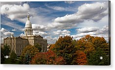Michgan Capitol - Autumn Acrylic Print by Larry Carr