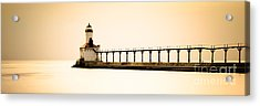 Michigan City Lighthouse At Sunset Panorama Picture Acrylic Print by Paul Velgos