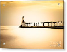 Michigan City Lighthouse At Sunset Picture Acrylic Print by Paul Velgos