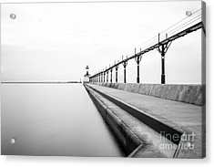 Michigan City Lighthouse Black And White Photo Acrylic Print by Paul Velgos