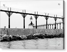 Michigan City Lighthouse Black And White Picture Acrylic Print by Paul Velgos