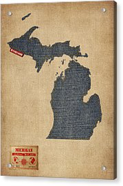 Michigan Map Denim Jeans Style Acrylic Print by Michael Tompsett