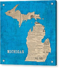 Michigan Map Made Of Vintage Newspaper Clippings On Blue Canvas Acrylic Print by Design Turnpike