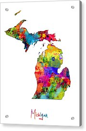 Michigan Map Acrylic Print by Michael Tompsett