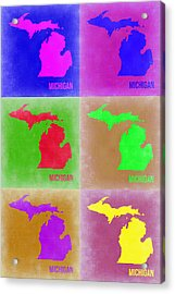 Michigan Pop Art Map 2 Acrylic Print by Naxart Studio