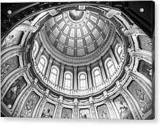 Michigan State Capitol Dome In Black And White  Acrylic Print