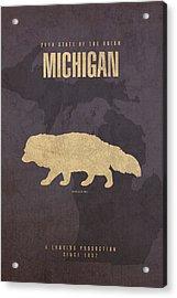 Michigan State Facts Minimalist Movie Poster Art  Acrylic Print