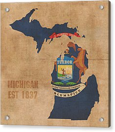 Michigan State Flag Map Outline With Founding Date On Worn Parchment Background Acrylic Print
