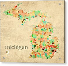Michigan State Map Crystalized Counties On Worn Canvas By Design Turnpike Acrylic Print by Design Turnpike