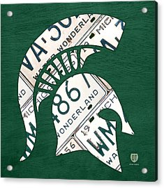 Michigan State Spartans Sports Retro Logo License Plate Fan Art Acrylic Print by Design Turnpike