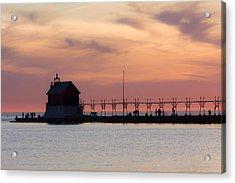 Michigan Sunset Acrylic Print by Adam Romanowicz