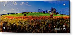 Acrylic Print featuring the photograph Michigan Uper  Farm Barn And Rolls Of Hay Brimly Michigan by Tom Jelen
