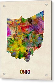 Ohio Watercolor Map Acrylic Print by Michael Tompsett