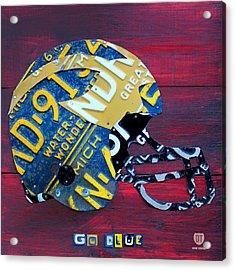 Michigan Wolverines College Football Helmet Vintage License Plate Art Acrylic Print by Design Turnpike